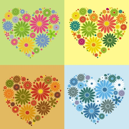 four floral heart Vector