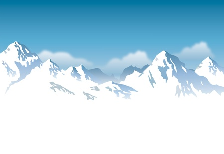 climbing up: snowcapped mountains - background