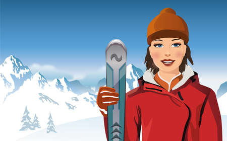 wintersports: Portrait of young woman holding ski pole in the mountains
