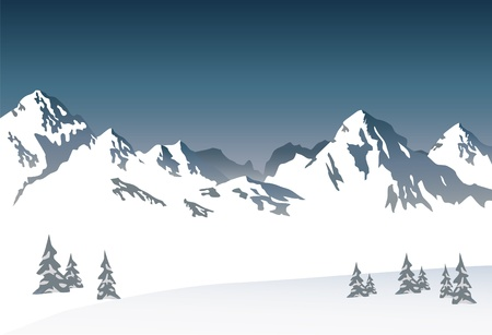 꼭대기가 눈으로 덮인: 눈 덮인 산 - 벡터