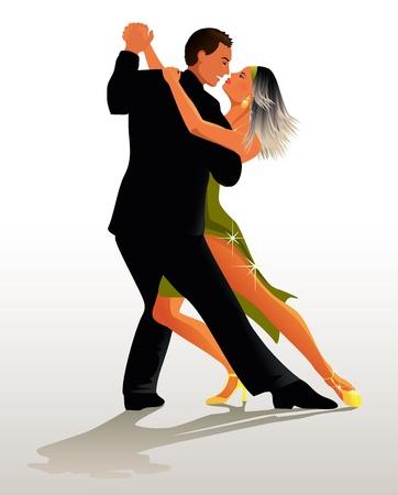 Paar dansen Tango Stock Illustratie