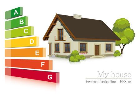 eficiencia energetica: Ilustraci�n vectorial de la eficiencia energ�tica en la casa Vectores