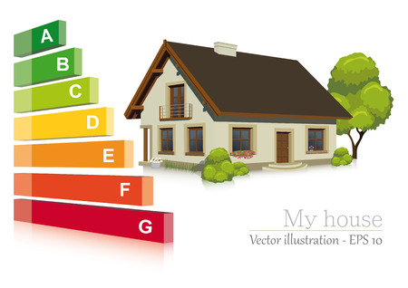 Vector illustratie van de energie-efficiëntie in het huis