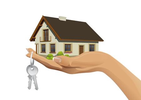 house keys: Vector illustration of miniature house on hand with keys Illustration