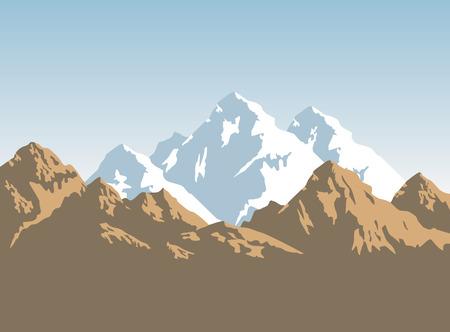 besneeuwde bergen breedte bruin rotsen - achtergrond Stock Illustratie