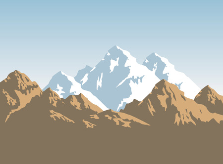 wilderness area: snowcapped mountains width brown rocks - background Illustration