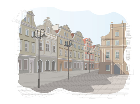old town: Old town square in Poland