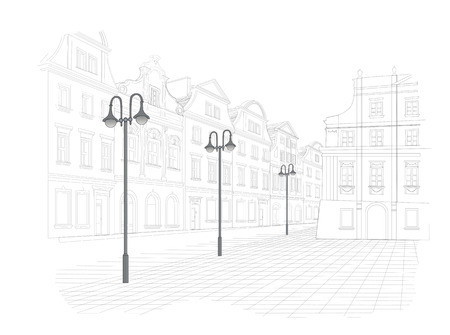 town square: Sketch of old town square in Poland
