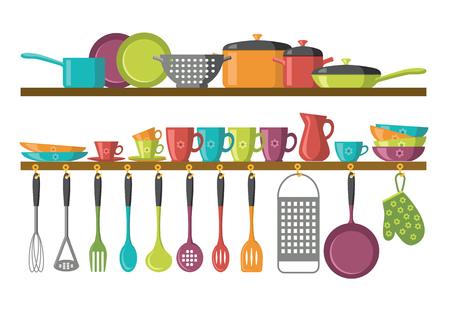 cooking utensils: kitchen shelves and cooking utensils Illustration