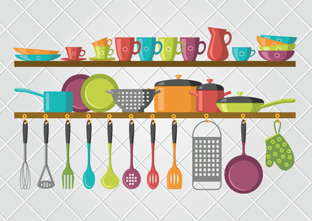 kitchen shelves and cooking utensils 向量圖像