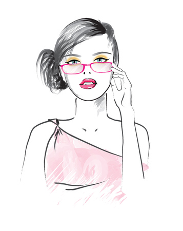 Beautiful woman in the glasses