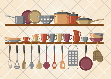 cooking utensils: Retro kitchen shelves and cooking utensils