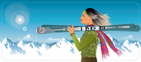 Woman holding skis resting in the mountains - vector illustration