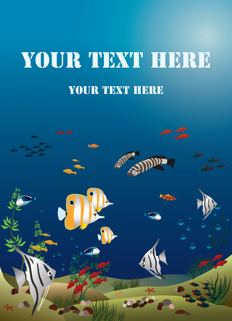 width: Leaflet width tropical fishes bottom of the ocean