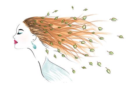 Art woman with disheveled hair - vector illustration Illustration