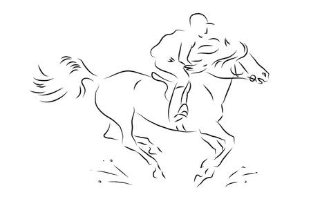 uomo a cavallo: sketch horseman galloping on horse - vector illustration