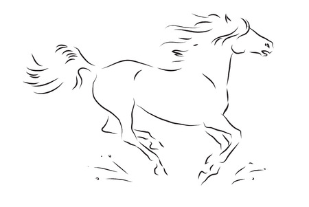 force of the wind: Sketch of silhouette of galloping horse - vector illustration