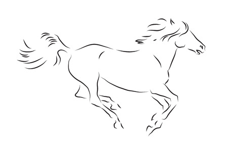 black: Sketch of silhouette of galloping horse