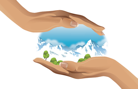 snowcapped: ecological vector illustration of snow-capped mountains on hand Illustration