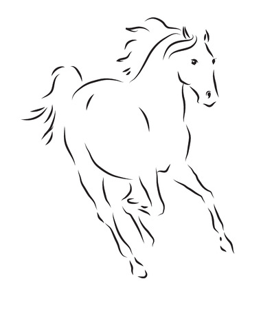 force of the wind: Vector illustration of a galloping horse