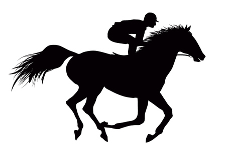 Vector illustration of a jockey on running black horse Illustration