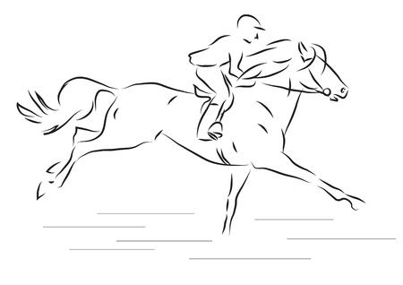 illustrazione vettoriale schizzo di un cavallo cavaliere al galoppo Vettoriali