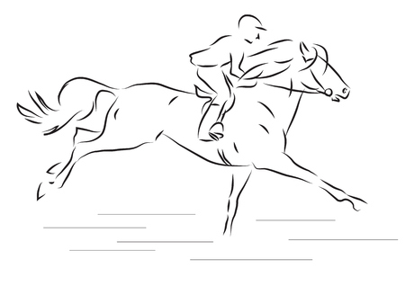 force of the wind: vector illustration sketch of a horseman galloping horse