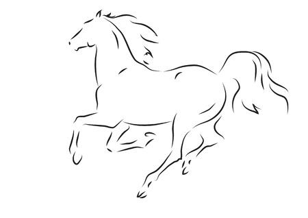 Sketch di silhouette di cavallo in corsa - illustrazione vettoriale
