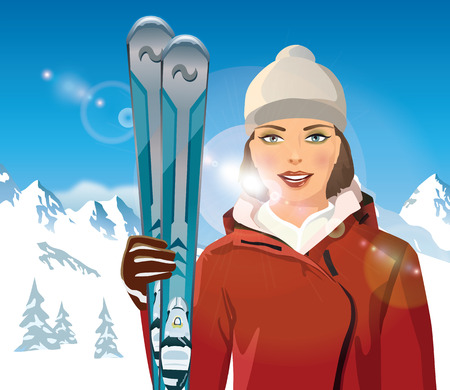 sunbath: woman with skis in the mountains - vector illustration Illustration