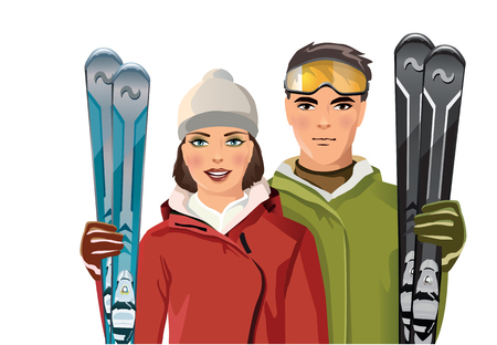 snowscape: man and woman with skis in the mountains - vector illustration