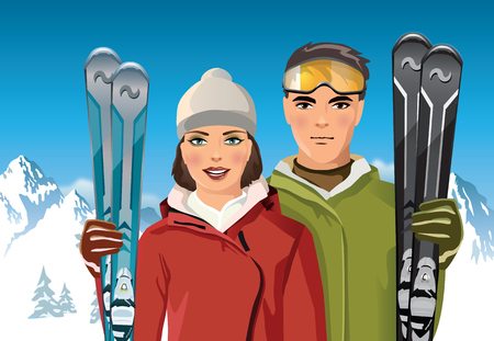 sunbath: man and woman with skis in the mountains - vector illustration