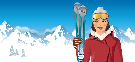snowscape: woman with skis in the mountains - vector illustration Illustration