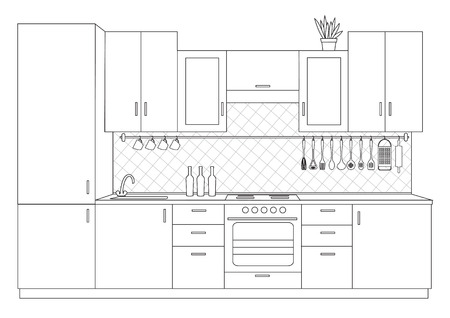 perspectiva lineal: Architectural sketch linear interior small kitchen front view Vectores