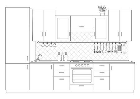 Architecturale schets lineaire interieur kleine keuken vooraanzicht Stock Illustratie