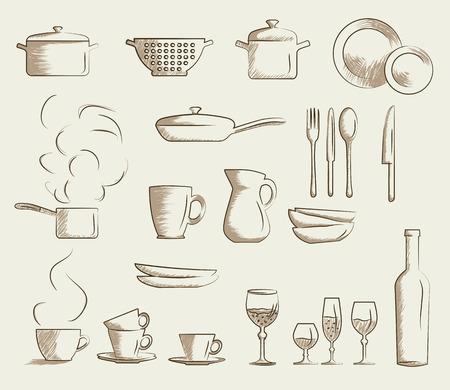 Icon set of retro cooking utensils. Hand drawn cartoon doodle vector illustration. Illustration