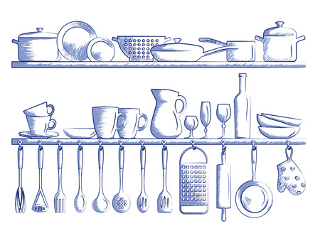 kitchen illustration: kitchen shelves and cooking utensils. Hand drawn cartoon doodle vector illustration.