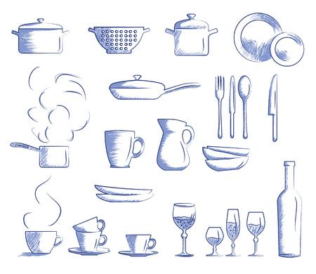 アイコンは、調理器具のセット。手描き漫画落書きベクトル イラスト。
