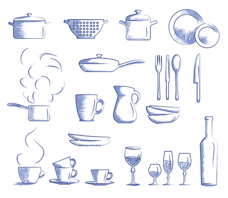 Icon set of cooking utensils. Hand drawn cartoon doodle vector illustration.  イラスト・ベクター素材