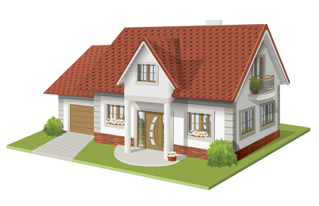 housebuilding: illustration 3d of classic house
