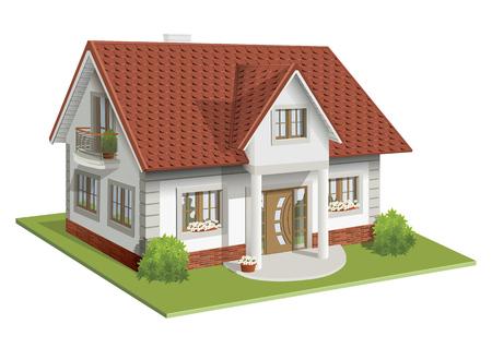 prefab: illustration 3d of classic house