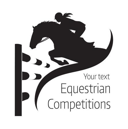 jumping fence: competiciones ecuestres - ilustración del caballo Vectores