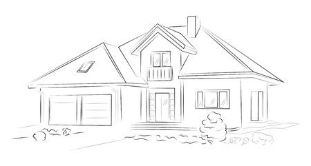 선형 건축 스케치 단독 주택 일러스트