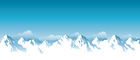 snowcapped landscape: illustration of snowy Himalaya mountains