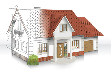 3d llustration of an idea and Implementation of house