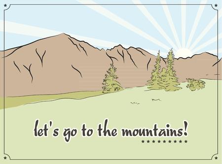 Retro vector illustration of mountains landscape Illustration