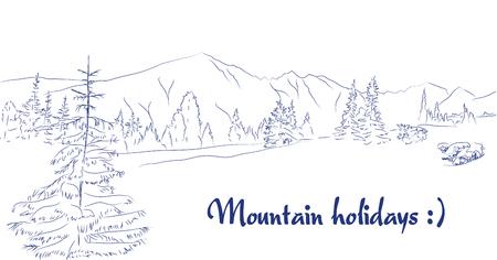 Vector illustration of a mountain meadow landscape graphic art pen
