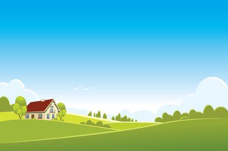 summer or spring landscape - vector illustration Illustration