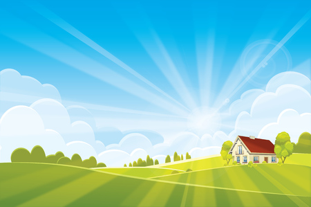 Sunrise summer or spring landscape - vector illustration Vektoros illusztráció