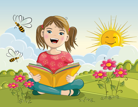 kid smile: Cartoon girl reading book - vector illustration