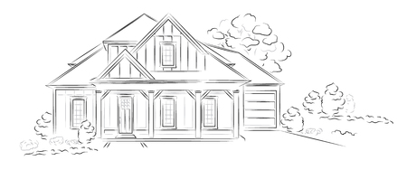 Vector Linear architectural sketch modern detached house